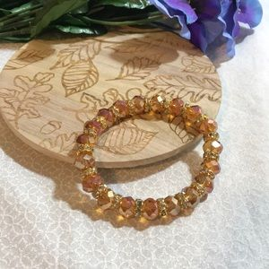3 for $25 gold glass bead stretch bracelet